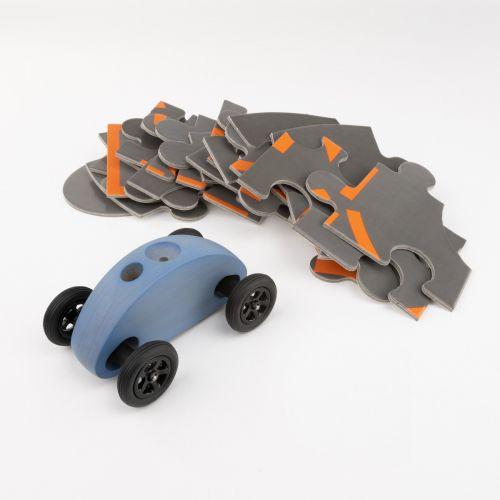 Finger Car Blau mit Puzzle Set