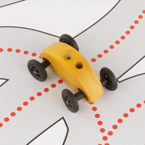 Finger Car Gelb mit Fahrbahn