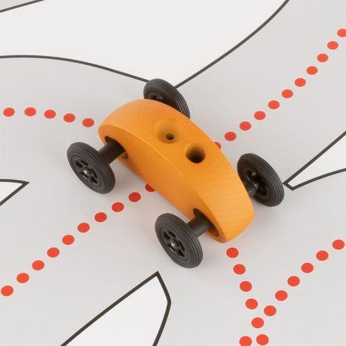Finger Car Orange mit Fahrbahn